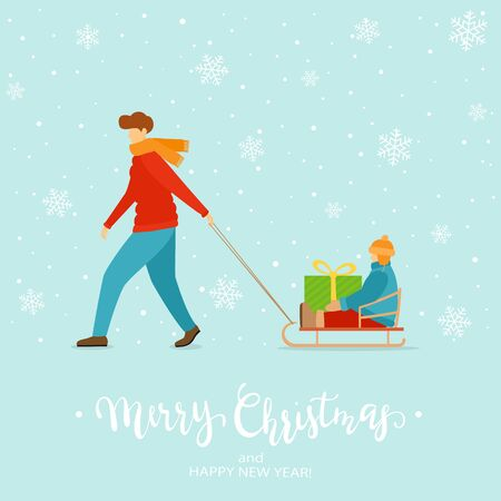 Father rides his little son on sleigh with big holiday gift. Christmas winter theme on blue background with snowflakes. Cartoon illustration can be used for holiday design, cards, invitation, banners. Vettoriali