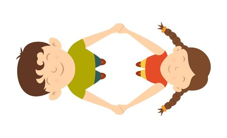 Boy and girl are spinning holding hands. Happy kids play together. Cute children in cartoon style. Illustration can be used for childrens clothing or things design, holiday cards, banners, invitation