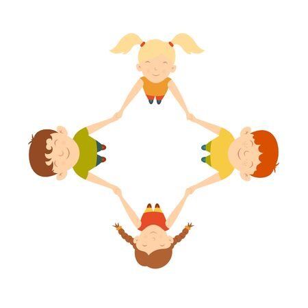 Team of boys and girls are spinning holding hands. Happy kids play together. Cute children in cartoon style. Illustration can be used for childrens clothing or things design, holiday cards, banners.