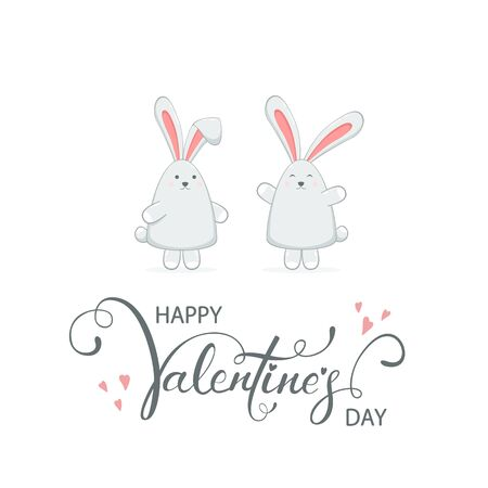 Cute couple of loving rabbits isolated on white background. Lettering Happy Valentine's Day with hearts. Illustration with little bunnies in cartoon style can be used for valentines holiday card. Reklamní fotografie - 138201014