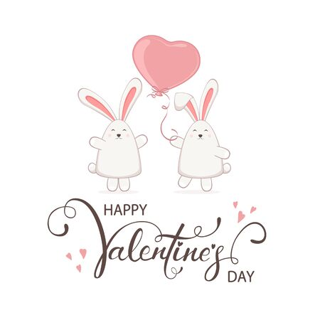 Cute couple of loving rabbits with pink balloon in the form of heart. Lettering Happy Valentines Day. Illustration with little bunnies in cartoon style can be used for valentines holiday card. Reklamní fotografie - 138200843