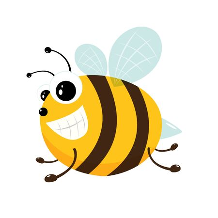 Cute little bee isolated on white background. Honey flying bee. Cartoon illustration in flat style with happy insect can be used for icons, mascot, childrens clothing or things design and other.