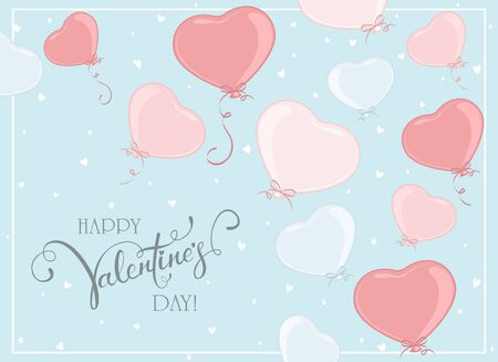 Pink and blue balloons in the form of Heart flying on blue sky background. Lettering Happy Valentines Day. Valentines illustration can be used for holiday design, posters, cards, websites, banners.