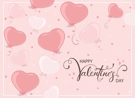 Pink balloons in the form of Heart flying on pink background. Valentines illustration with lettering Happy Valentines Day can be used for holiday design, posters, cards, websites, banners.
