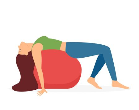 Pretty woman doing Yoga with a big red ball. Pilates training with young girl isolated on white background. Flat style cartoon illustration of a fitness workout on the theme of a healthy lifestyle.