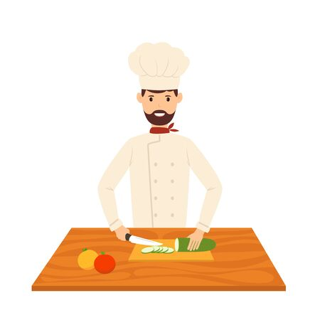 Smiling chef cuts vegetables and fruits into pieces, prepares dishes. Happy cook isolated on a white background. Cartoon illustration in flat style on the theme of a healthy lifestyle.