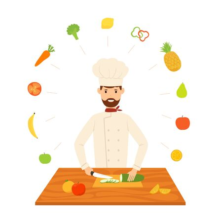 Smiling chef cuts with a knife, prepares dishes. Vegetables and fruits fly around it. Happy cook isolated on a white background. Cartoon illustration in flat style on the theme of a healthy lifestyle.