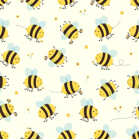 Seamless background with happy flying bees. Cute bees collect flowers and honey. Cartoon illustration can be used for childrens clothing or things design, backgrounds, wrapper, wallpaper, banners.