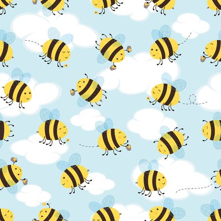 Seamless pattern with happy flying bees. Cute bees with honey on sky background. Cartoon illustration can be used for childrens clothing or things design, backgrounds, wrapper, wallpaper, banners.