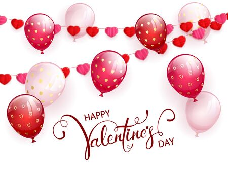Text Happy Valentines Day on white background with pink flying balloons and red pennants in the form of hearts. Illustration can be used for holiday design, posters, cards, websites, banners. 向量圖像