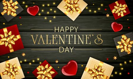 Black wooden background with red hearts, gifts with golden bow, lights and shiny stars. Gold lettering Happy Valentine's Day. Illustration can be used for holiday design, poster, card, website, banner Illustration