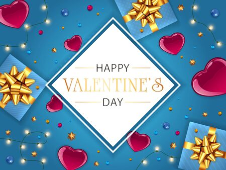 Valentines banner with red hearts, lights and gifts on blue background. White card with lettering Happy Valentine's Day. Illustration can be used for holiday design, posters, cards, websites, banners.