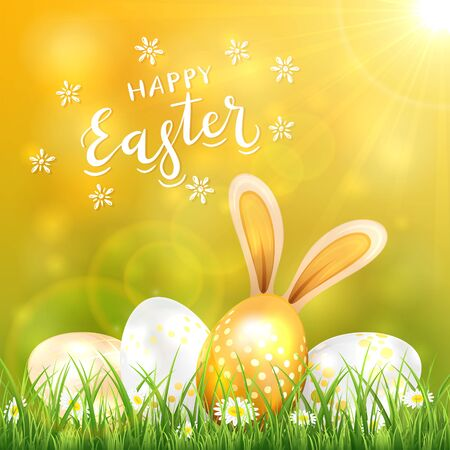 Sunny Easter background with golden eggs and rabbit ears in the grass. White lettering Happy Easter with flowers on nature background. Illustration can be used for holiday design and cards. Ilustrace