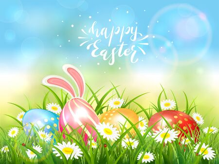 Easter theme with eggs and bunny ears. Lettering Happy Easter on blue nature background with butterflies and a white rabbit behind eggs in the grass with flowers, illustration. Vetores
