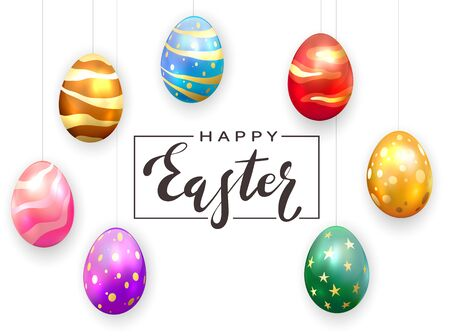 Black lettering Happy Easter and colored Easter eggs hanging on a white background. Holiday decorations. Illustration can be used for holiday design, poster, banner, greeting card.