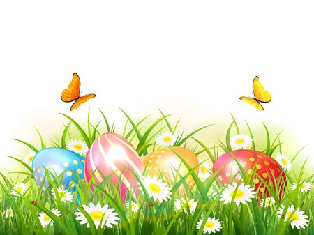 Easter theme. Colorful Easter eggs in the grass with flowers and flying butterflies. Spring nature. Illustration with realistic eggs can be used for holiday design, banners, poster, greeting cards. 向量圖像