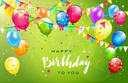 Lettering Happy Birthday on sunny green background. Flying colorful balloons, multicolored pennants and confetti. Illustration can be used for holiday design, posters, cards, website, banners.