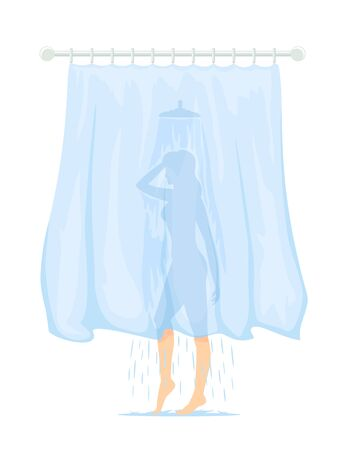 A slim woman behind the curtain washes in the shower. Transparent curtain in the bathroom. Cartoon illustration isolated on white background. Young pretty slender girl taking a shower.