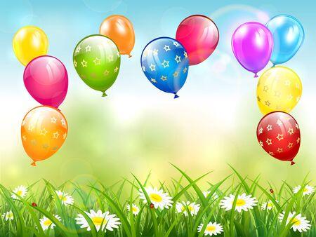 Geburtstagsballone, die über Gras auf Himmelhintergrund fliegen. Urlaubsthema mit bunten Luftballons. Illustration kann für Urlaubsdesign, Poster, Karte, Website, Banner verwendet werden.