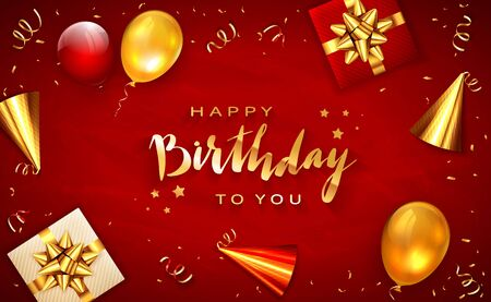 Gold lettering Happy Birthday on red background with holiday balloons, party hat, realistic gifts with golden bows and balloons. Illustration can be used for holiday design, posters, cards, banners. Иллюстрация