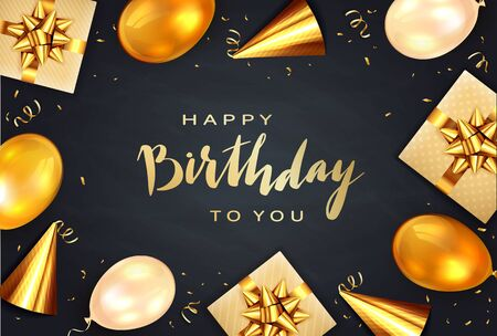 Gold lettering Happy Birthday on black background. Holiday balloons, party hat, gifts with golden bows, streamers and balloons. Illustration can be used for holiday design, posters, cards, banners. Иллюстрация