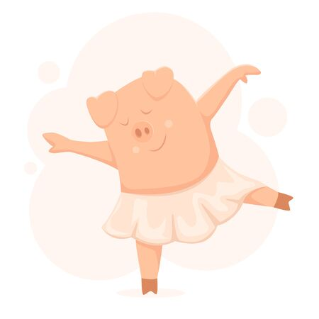 Dancing pig in a tutu. Funny piggy on pink background. Cute little piglet dancing and smiling. Illustration in flat cartoon style can be used for holiday cards, children's clothing design and t-shirt. Ilustrace