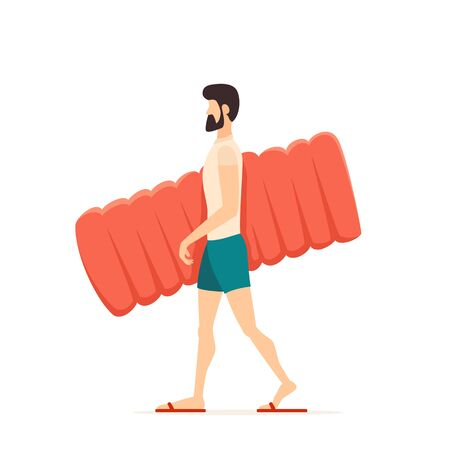 Man in blue swim shorts goes to the beach or pool with an inflatable mattress. Funny guy isolated on white background. Illustration in flat cartoon style can be used for summer design, posters, banner