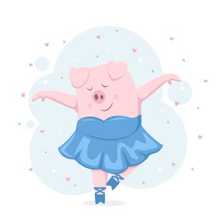 Happy piggy ballerina on background with stars and hearts. Happy pink pig in a tutu and pointe shoes. Cartoon illustration can be used for holiday card, children's clothing or things design, banners. Illustration