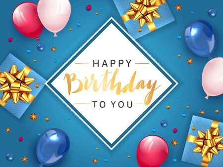 White card with gold lettering Happy Birthday on blue background with holiday balloons and realistic gifts with golden bows. Illustration can be used for holiday design, posters, cards, banners. Иллюстрация