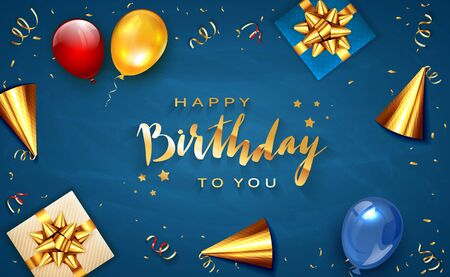 Gold lettering Happy Birthday on blue background with holiday balloons, party hat, realistic gifts with golden bows and balloons. Illustration can be used for holiday design, posters, cards, banners.