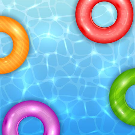 Float rings on blue water pool background. Summer aqua textured background with colored swim rings. Illustration can be used for summer design, posters, banners.