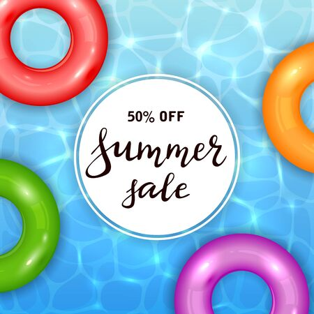 Float rings on blue water pool background. Summer aqua textured background with colored swim rings. Lettering Summer Sale on white card. Illustration can be used for summer design, posters, banners. Иллюстрация