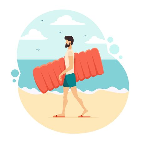 Man in blue swim shorts goes to the beach with an inflatable mattress. Funny guy on sea background. Summer theme. Illustration in flat cartoon style can be used for summer design, posters, banners. Illustration