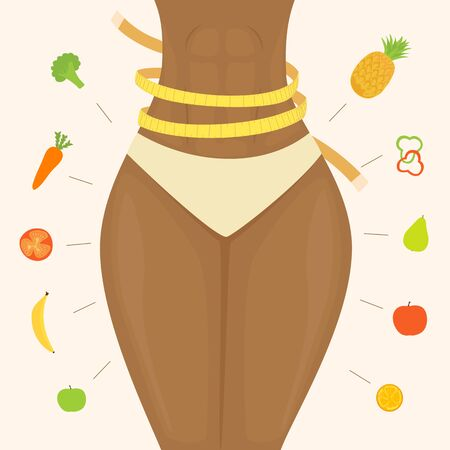 Healthy lifestyle theme. Slim women's waist with a yellow measuring tape. Diet and healthy eating. Fruits and Vegetables on pink background around the girl. Health concept, illustration. 矢量图像