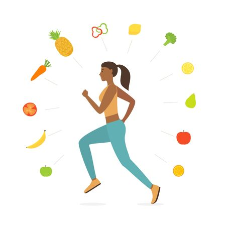 Jogging girl dressed in sportswear. World Health Day. Vegetables and Fruits around running woman isolated on white background. Sports active lifestyle theme. Vector illustration in flat cartoon style. Çizim