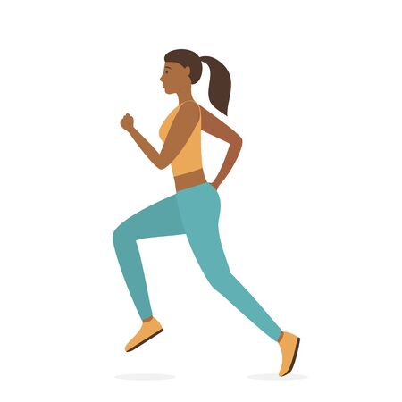 Jogging girl dressed in sportswear isolated on white background. Sports active lifestyle theme. Running woman. Sport fitness run training. Vector illustration in flat cartoon style. World Health Day
