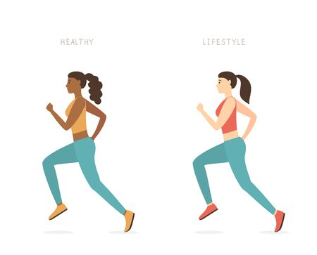 Running girls in sportswear isolated on a white background. Sports theme of an active lifestyle. A woman running. Sports fitness-running training. Vector illustration in a flat cartoon style. World health day