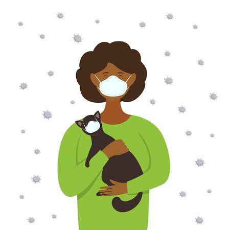 Woman and cat wear medical protective masks on their faces because of the corona virus. Illustration with a flat cartoon characters and viruses. Protecting health from infectious, disease and covid-19