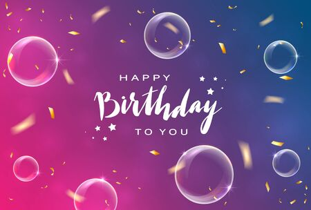 Lettering Happy Birthday on pink and blue background with shiny holiday confetti and bubbles. Illustration can be used for holiday design, borders, posters, cards, banners, backdrop. Çizim