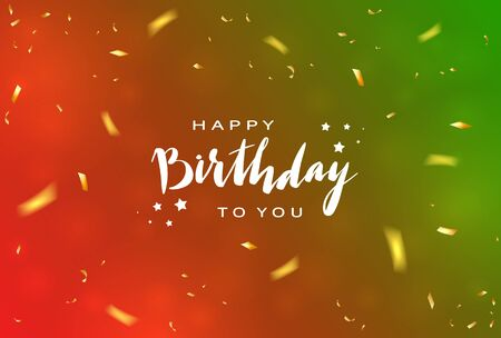 Lettering Happy Birthday on red and green background with shiny holiday confetti. Illustration can be used for holiday design, borders, posters, cards, banners, backdrop. Çizim