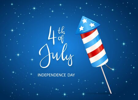 Text 4th of July and firework rocket for Independence Day on blue starry background. Illustration can be used for holiday design, cards, posters, banners. Çizim