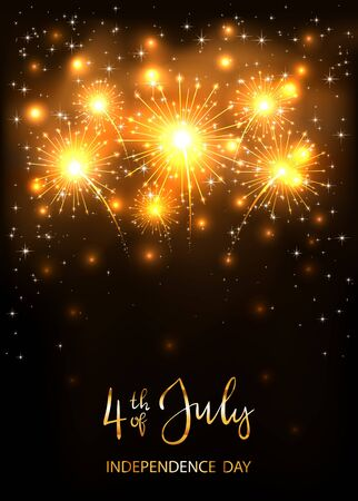 Text 4th of July and Independence day with shiny golden fireworks and stars on dark background. Independence day Theme. Illustration can be used for holiday design, cards, posters, banners. Çizim