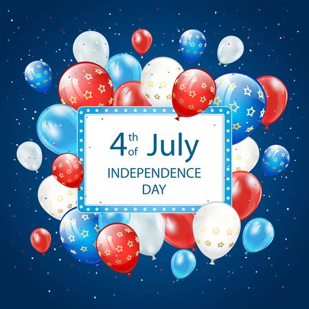 Text Independence day 4th of July with banner, balloons and confetti on blue background. Independence day Theme. Illustration can be used for holiday design, cards, posters, banners. Çizim