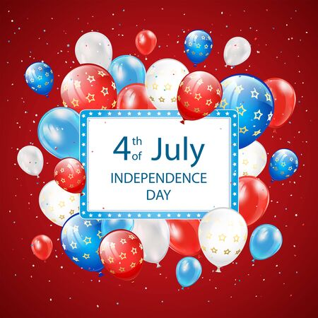 Text Independence day 4th of July with banner, balloons and confetti on red background. Independence day Theme. Illustration can be used for holiday design, cards, posters, banners.