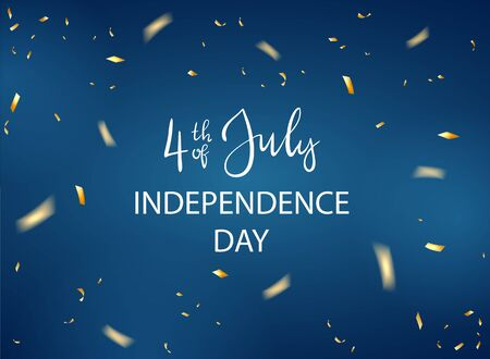 Lettering 4th of July and confetti for Independence Day. Blue holiday background with starry confetti. Illustration can be used for holiday design, cards, posters, banners.