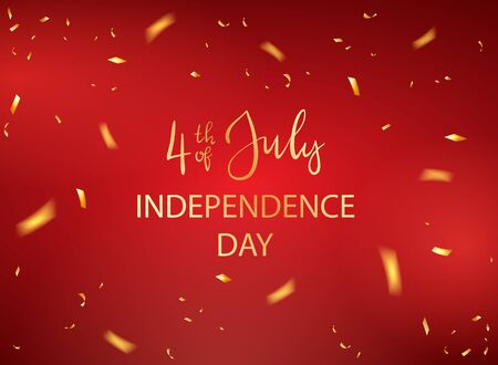 Lettering 4th of July and confetti for Independence Day. Red holiday background with starry confetti. Illustration can be used for holiday design, cards, posters, banners.