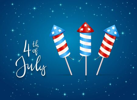 Text 4th of July and firework rocket for Independence Day. Blue starry background. Illustration can be used for holiday design, cards, posters, banners. Çizim