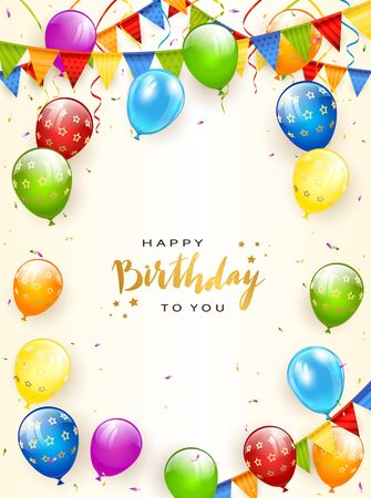 Colorful balloons isolated on white background with gold lettering Happy Birthday, holiday pennants, streamers and confetti. Illustration can be used for holiday design, poster, card, website, banners