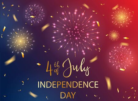 Text 4th of July and Independence day with shiny fireworks and stars on dark blue and red background. Independence day Theme. Illustration can be used for holiday design, cards, posters, banners.