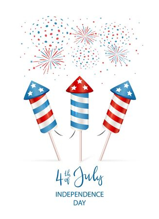Text 4th of July and firework rocket for Independence Day. Set of fireworks isolated on white background. Illustration can be used for holiday design, cards, posters, banners, flyers. Çizim